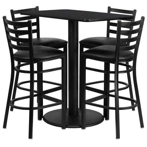Rectangular Black Laminate Table Set with 4 Ladder Back Metal Bar Stools - Black Vinyl Seat