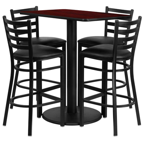Rectangular Mahogany Laminate Table Set with 4 Ladder Back Metal Bar Stools - Black Vinyl Seat