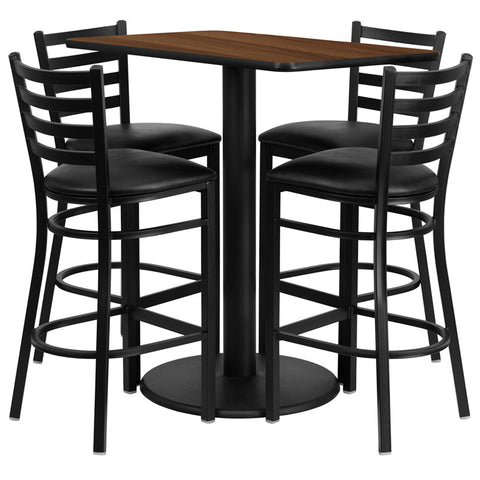 Rectangular Walnut Laminate Table Set with 4 Ladder Back Metal Bar Stools - Black Vinyl Seat