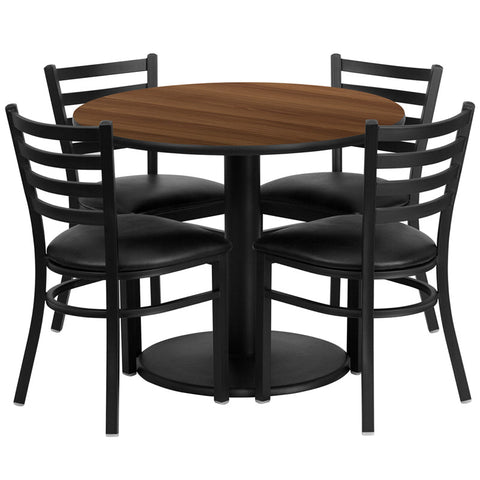 Round Walnut Laminate Table Set with 4 Ladder Back Metal Chairs - Black Vinyl Seat