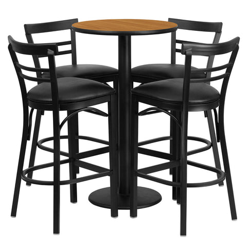 Round Natural Laminate Table Set with 4 Ladder Back Metal Bar Stools - Black Vinyl Seat
