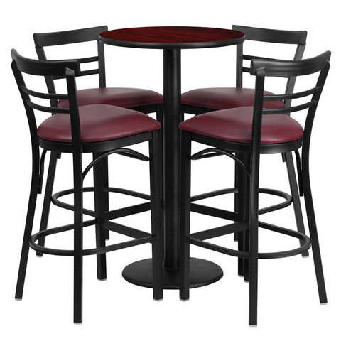 Round Mahogany Laminate Table Set with 4 Ladder Back Metal Bar Stools - Burgundy Vinyl Seat