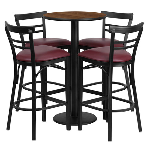 Round Walnut Laminate Table Set with 4 Ladder Back Metal Bar Stools - Burgundy Vinyl Seat