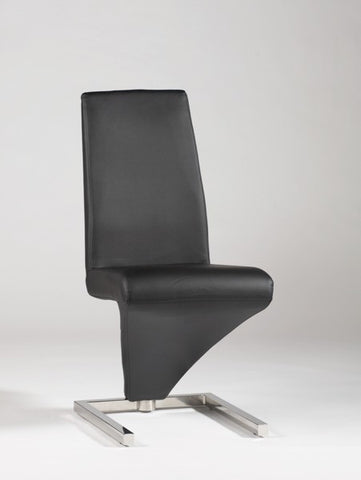"Chintaly ""Z"" Frame Upholstered Side Chair Black Pvc"