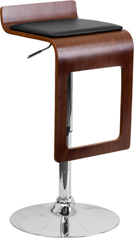Walnut Bentwood Adjustable Height Bar Stool with Black Vinyl Seat and Drop Frame
