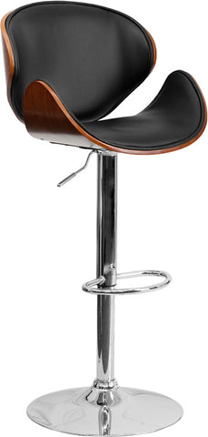Walnut Bentwood Adjustable Height Bar Stool with Curved Black Vinyl Seat and Back