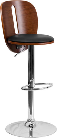 Walnut Bentwood Adjustable Height Bar Stool with Black Vinyl Seat and Cutout Back