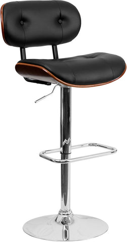 Walnut Bentwood Adjustable Height Bar Stool with Button Tufted Black Vinyl Upholstery