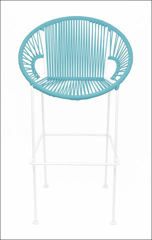 Innit Puerto Stool Bar Height Blue On White Frame
