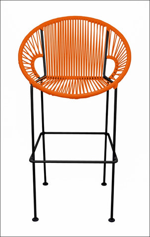 Innit Puerto Stool Bar Height Orange On Black Frame