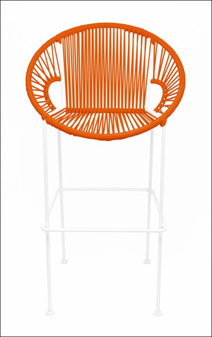 Innit Puerto Stool Bar Height Orange On White Frame
