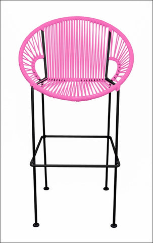 Innit Puerto Stool Bar Height Pink On Black Frame