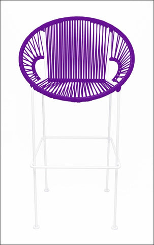 Innit Puerto Stool Counter Height Purple On White Frame