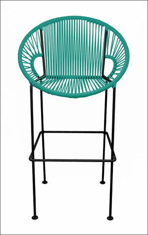 Innit Puerto Stool Counter Height Turquoise On Black Frame