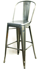 "Tolix 30"" High Back Bar Stool in Pewter - YourBarStoolStore + Chairs, Tables and Outdoor"