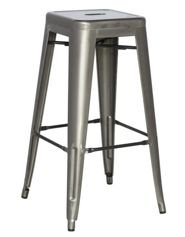 Chintaly Galvanized Steel Bar Stool 8015-BS-GUN Set of 4