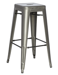 Chintaly Galvanized Steel Bar Stool 8015-BS-GUN Set of 4 - YourBarStoolStore + Chairs, Tables and Outdoor