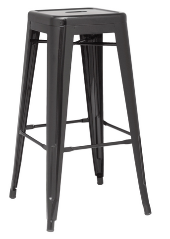 Chintaly Galvanized Steel Bar Stool 8015-BS-BLK Set of 4