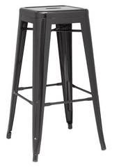 Chintaly Galvanized Steel Bar Stool 8015-BS-BLK Set of 4 - YourBarStoolStore + Chairs, Tables and Outdoor