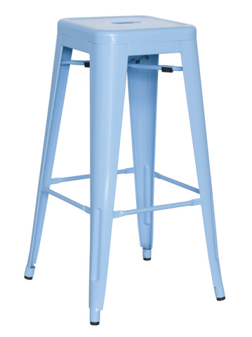 Chintaly Galvanized Steel Bar Stool 8015-BS-BLU Set of 4