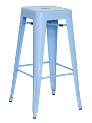 Chintaly Galvanized Steel Bar Stool 8015-BS-BLU Set of 4 - YourBarStoolStore + Chairs, Tables and Outdoor