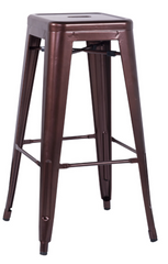 Chintaly Galvanized Steel Bar Stool 8015-BS-COP Set of 4 - YourBarStoolStore + Chairs, Tables and Outdoor