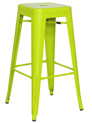 Chintaly Galvanized Steel Bar Stool 8015-BS-GRN Set of 4