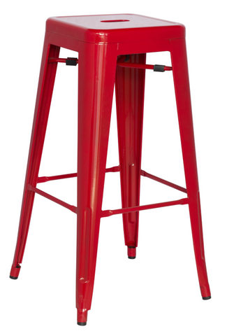 Chintaly Galvanized Steel Bar Stool 8015-BS-RED Set of 4