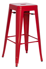 Chintaly Galvanized Steel Bar Stool 8015-BS-RED Set of 4 - YourBarStoolStore + Chairs, Tables and Outdoor