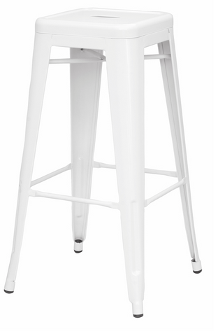 Chintaly Galvanized Steel Bar Stool 8015-BS-WHT Set of 4