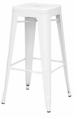 Chintaly Galvanized Steel Bar Stool 8015-BS-WHT Set of 4 - YourBarStoolStore + Chairs, Tables and Outdoor