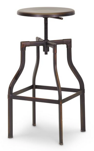 Architect's Industrial Bar Stool in Antiqued Copper Set of 2