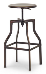 Architect's Industrial Bar Stool in Antiqued Copper Set of 2 - YourBarStoolStore + Chairs, Tables and Outdoor