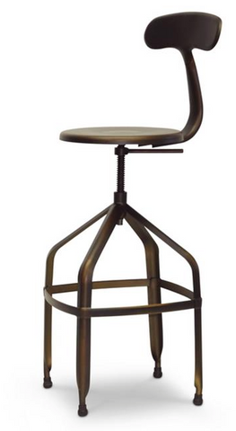 Architects Industrial Bar Stool with Backrest set of 2