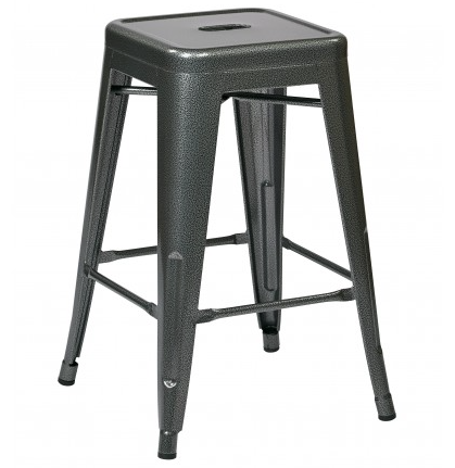 "Tolix 24"" Steel Backless Barstool (2-Pack) (Exposed Grey)"