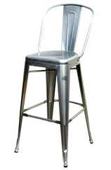 "Commercial Silver Tolix Stool with Back 30"" - YourBarStoolStore + Chairs, Tables and Outdoor"