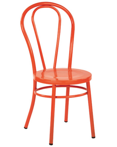 Thonet Style Orange Metal Bentwood Steel Side Chair (set of 2)