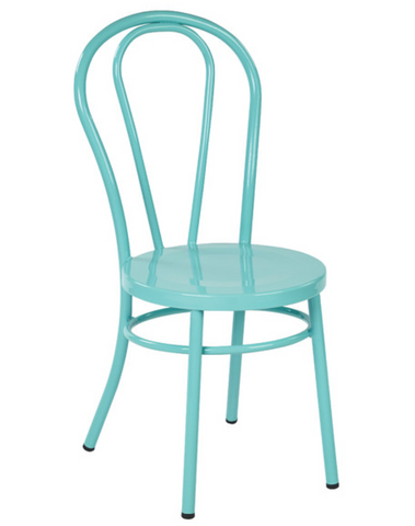 Thonet Style Teal Metal Bentwood Steel Side Chair (set of 2)