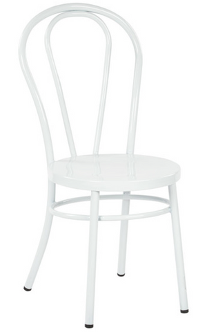 Thonet Style White Metal Bentwood Steel Side Chair (set of 2)