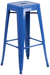 Tolix Style Backless Blue Metal Indoor-Outdoor BarStool - YourBarStoolStore + Chairs, Tables and Outdoor