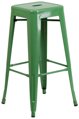 Tolix Style Backless Green Metal Indoor-Outdoor BarStool - YourBarStoolStore + Chairs, Tables and Outdoor