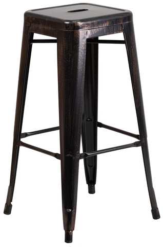 Tolix Style Backless Black Antique Gold Metal Indoor-Outdoor BarStool