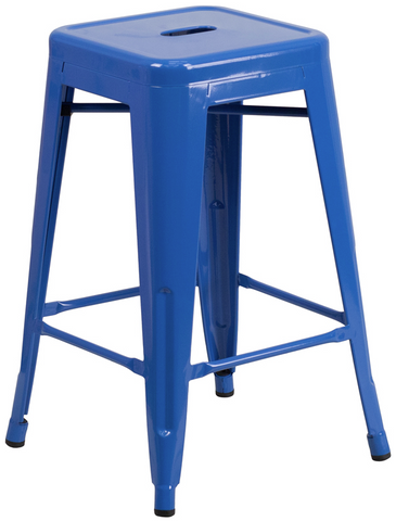Tolix Style Backless Blue Metal Indoor-Outdoor Counter Height Stool