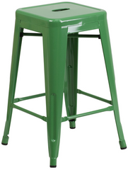 Tolix Style Backless Green Metal Indoor-Outdoor Counter Height Stool - YourBarStoolStore + Chairs, Tables and Outdoor