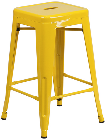 Tolix Style Backless Yellow Metal Indoor-Outdoor Counter Height Stool