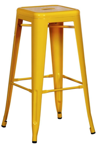 Tolix Style Backless Yellow Metal Indoor-Outdoor BarStool