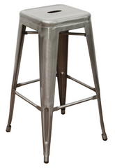 Tolix Style Backless Gunmetal Indoor-Outdoor BarStool - YourBarStoolStore + Chairs, Tables and Outdoor