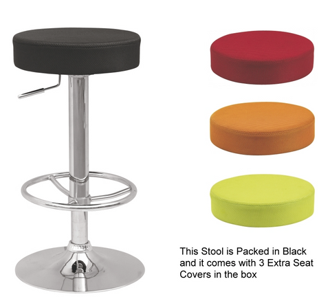 Chintaly Backless Pneumatic Gas Lift Adjustable Stool w/3 Extra Slip Cover Colors
