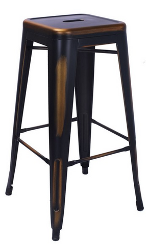 Tolix Style Backless Antique Copper Metal Indoor-Outdoor BarStool