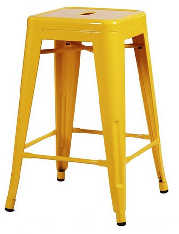 Tolix Style Backless Yellow Glossy Metal Indoor-Outdoor Counter Stool